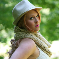 Cowl Scarf Crochet Hood Scarf / The Raudona / Bone