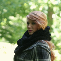 Cowl Scarf Women's Crochet Snood Scarf /The Kensington/ Black