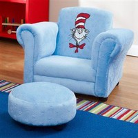 Dr Seuss Blue Velour Cat in the Hat Mini Chair with Ottoman