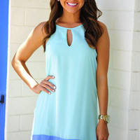 Color Block Dress: Aqua/Periwinkle | Hope's