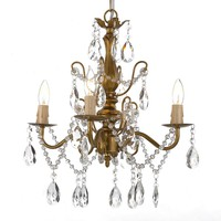 Gallery 4-light Wrought Iron and Crystal Gold Finish Chandelier | Overstock.com