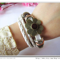 Adjustable Leather Bracelet /Buckle