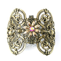 Flower Bird Cuff Bracelet, Antique Gold, Vintage, Fantasy Jewelry,