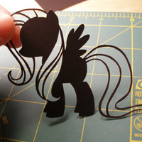 Fluttershy My Little Pony Friendship is Magic 4x6  UNFRAMED Hand cut black silhouette papercut