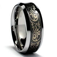 8MM Concave Black Laser Etched Tungsten Carbide Ring Wedding Band Size 11
