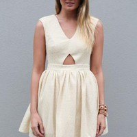 Cream Sleeveless V-Neck Dress with Cutout Back and Front
