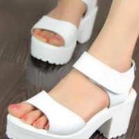 Ladies Ankle Strap Chunky Block Heel Sandals Shoes