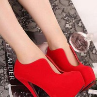 Ladies Fashion High Heel Cut Front Evening Shoes