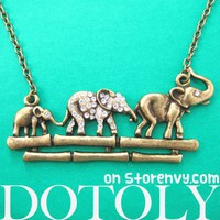 Elephant Family Parade Animal Charm Necklace in Bronze with Rhinestone