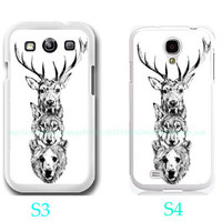 Deer - Wolf and Bear case Photo- Samsung Galaxy S3 ,Samsung Galaxy S4 ,you can choose S3 or S4-includes screen protector and cleaning cloth