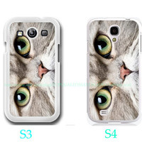 Cat Meow Face On Case-Samsung Galaxy S3 ,Samsung Galaxy S4 ,you can choose S3 or S4-includes screen protector and cleaning cloth