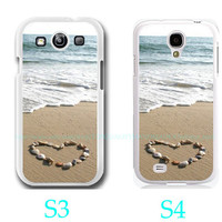 Seashell Heart on Sand Beach Ocean Photo-Samsung Galaxy S3 ,Samsung Galaxy S4 ,you can choose S3 or S4-screen protector and cleaning cloth