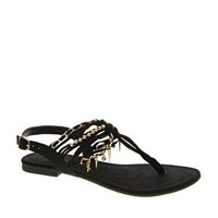 New Look Harris Black Chain Flat Sandals at asos.com
