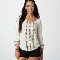 AE Embroidered 3/4-Sleeve Tee | American Eagle Outfitters