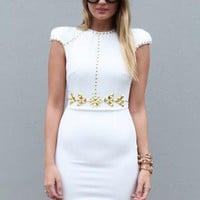 White Bodycon Dress with Gold Bead Detail & Cutout Front