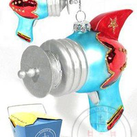 RayGun Christmas Ornament Blue Red : Glass Retro Tin Toy : New for 2009