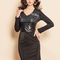 Sequin cO Pu leather little black dress