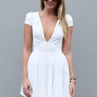 White V-Neck Dress with Cap Sleeves and Skater Skirt