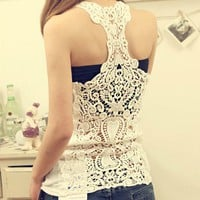 Embroidery Floral Lace Crochet Vest