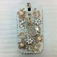 New Chic Bling Sparkle Rhinestones Pearls Flowers Perfume Bottle All Pearls Samsung Galaxy S3 i9300 Case