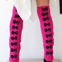 Fuchsia Over the Knee Leg Warmers with Bows by Mademoiselle