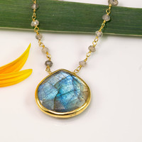Large faceted bezel set Labradorite drop with wire wrapped labradorite beads necklace - Mother's Day Gift