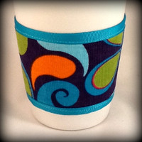Reusable Coffee Cozy 100 Cotton in Orange Pink by TwoSisters2Sis