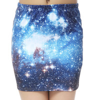 Starry Night — The Galaxy Mini Skirt Blue