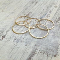 5 Gold rings, Stacking ring, stacking gold rings, knuckle rings, thin ring, hammered ring, tiny ring