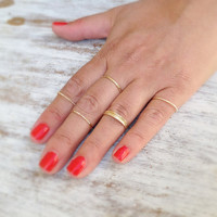 Special offer- 10 Gold rings, Stacking ring, stacking gold rings, knuckle rings, thin ring, hammered ring, tiny ring, gold knuckle rings