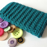 Galaxy S3 Sleeve, Green Crochet Cell Sleeve, Nexus 4 Sock, Teal Phone case, Hand Crochet, Yarn Phone Case, Solid Colour Knit, Chunky Cozy