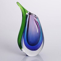 "Hand Blown Purple, Blue, & Green Sommerso Teardrop Art Glass Vase with Angled Lip 9.5"" tall:Amazon:Patio, Lawn & Garden"