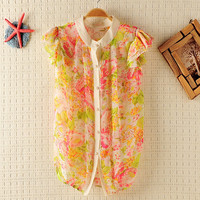 Micro-transparent Princess sleeves  Flowers Shirt