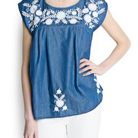 MANGO - NEW - Embroidered flowers denim blouse
