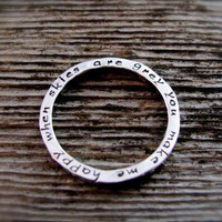 Personalized Two Sided Inscribed Hammered Stacking Ring in Sterling Silver