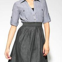 Crinkle Chambray Button Front 2fer - $25.50 - Casual - DRESSES A'GACI