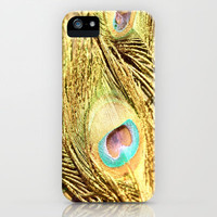 The Golden Peacock  iPhone & iPod Case by Lisa Argyropoulos