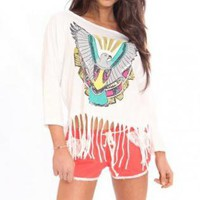 Long Sleeve Eagle Fringe Top