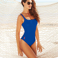 Ralph Lauren Blue Label Swimsuit, Scoop-Neck Logo One-Piece - Junior Swimwear - Women - Macy's