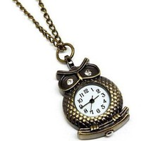 Owl Watch LONG Necklace Crystal Antique Gold Tone:Amazon:Everything Else