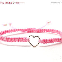 On Sale Pink Heart Bracelet, Macrame, Friendship, Sterling Silver
