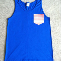 Royal Tank with Red and White Striped Pocket