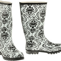 15DOLLARSTORE.COM - NOMAD Puddles Pull-On Damask Rain Boot (White)