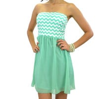 Jazzy Kate Minty Green Chevron Tube Dress