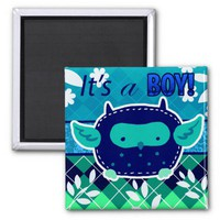 """It's a boy"" Blue Baby Owl Refrigerator Magnet from Zazzle.com"