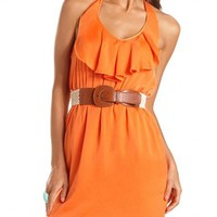 Crochet Belt Ruffled Halter Dress: Charlotte Russe