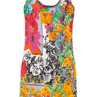 Versace | Floral-print stretch-silk satin tank dress | NET-A-PORTER.COM