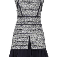 Oscar de la Renta for THE OUTNET Silk-chiffon trimmed tweed dress – 0% at THE OUTNET.COM