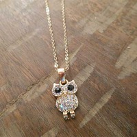 Gold Rhinestone Owl Necklace | Candy's Cottage
