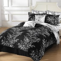 Chezmoi Collection 8-Piece Soft Microfiber Reversible Black White Tree Branches Duvet Cover with Sheet Set, Queen:Amazon:Home & Kitchen
